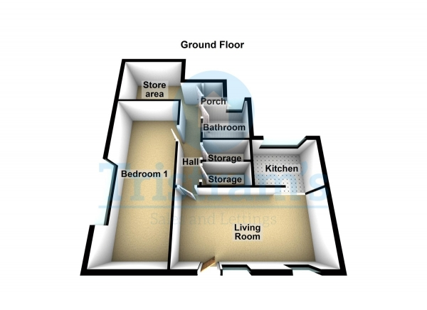 Floor Plan Image for 1 Bedroom Ground Flat for Sale in Spruce Gardens, Nottingham