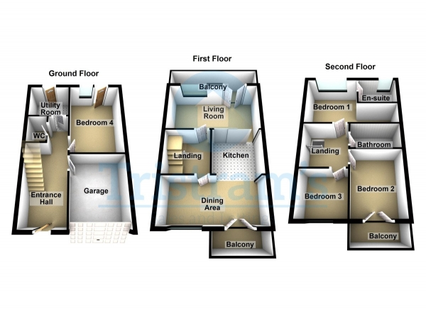 Floor Plan Image for 4 Bedroom Town House for Sale in Wakefield Close, Wilford