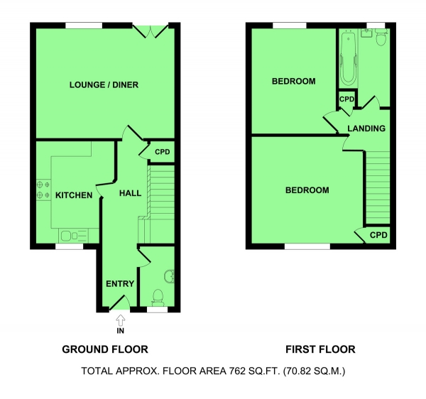 Floor Plan Image for 2 Bedroom Semi-Detached House for Sale in Kings Drive, Bradwell