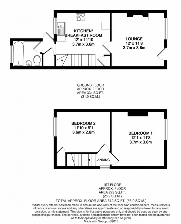 Floor Plan Image for 2 Bedroom Property for Sale in Harlington Road, Hillingdon
