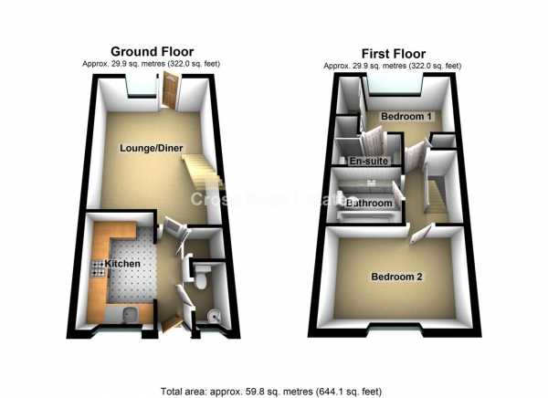Floor Plan Image for 2 Bedroom End of Terrace House for Sale in Renaissance Gardens, Beacon Park