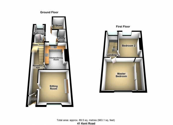 Floor Plan Image for 2 Bedroom Property to Rent in Kent Road, Ford