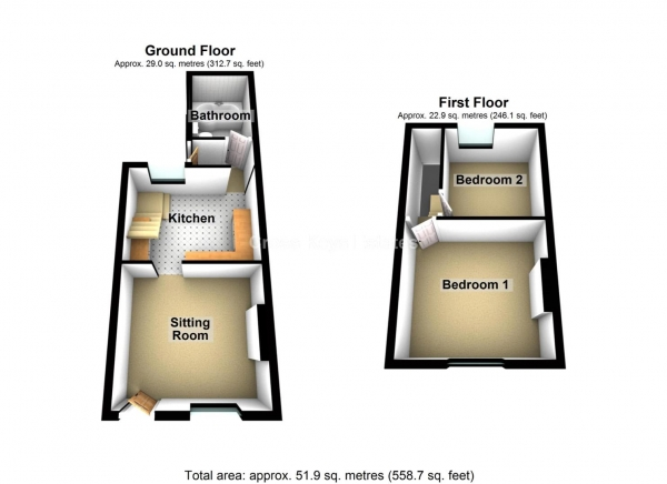 Floor Plan Image for 2 Bedroom Property to Rent in Eggbuckland Road, Higher Compton