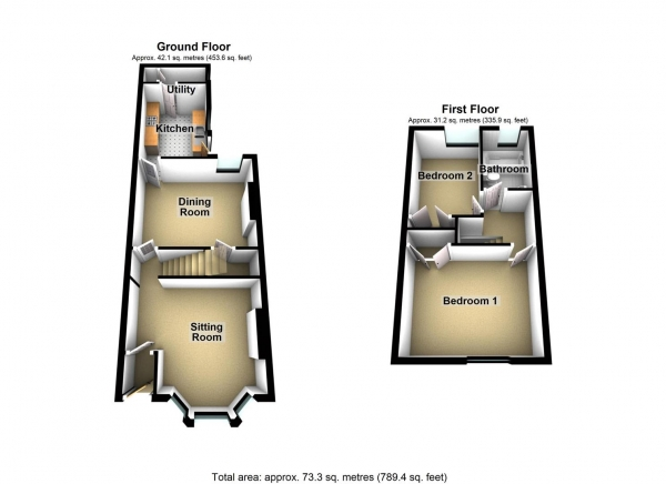 Floor Plan Image for 2 Bedroom Property to Rent in Balmoral Avenue, Stoke