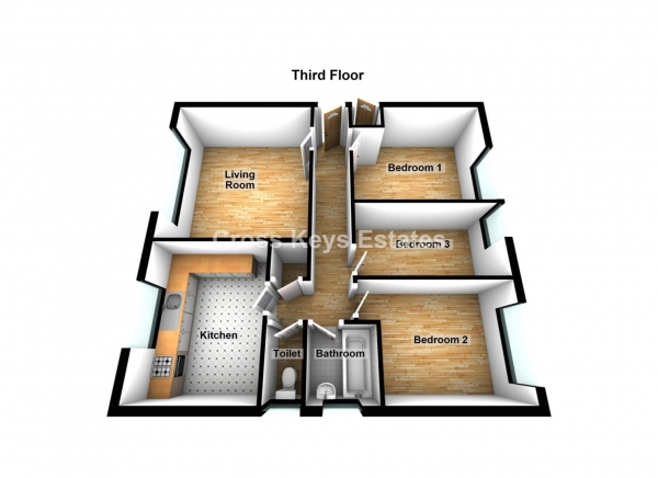 Floor Plan Image for 3 Bedroom Property to Rent in Vauxhall Street, The Barbican