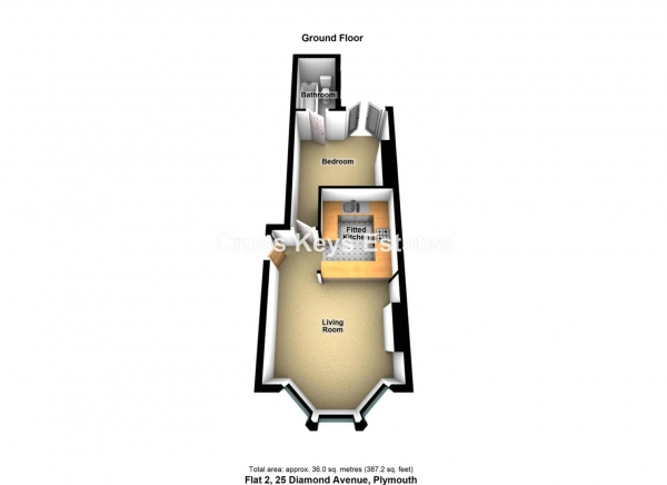 Floor Plan Image for 1 Bedroom Apartment to Rent in Diamond Avenue, Lipson