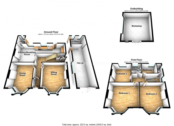 Floor Plan Image for 4 Bedroom Property for Sale in De La Hay Villas, Stoke
