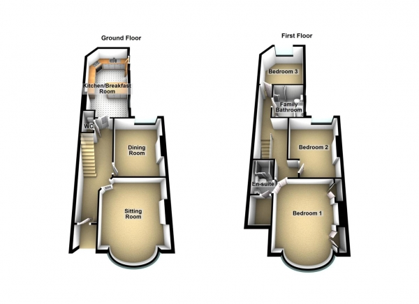 Floor Plan Image for 3 Bedroom Property for Sale in Nelson Avenue, Stoke