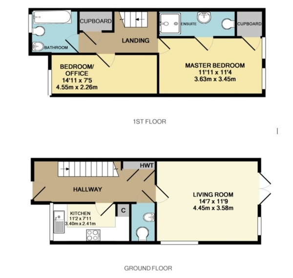 Floor Plan Image for 2 Bedroom End of Terrace House for Sale in Apps Meadow Close, West Molesey