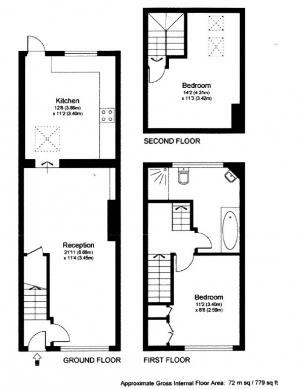 Floor Plan Image for 2 Bedroom Cottage for Sale in Bell Road, East Molesey