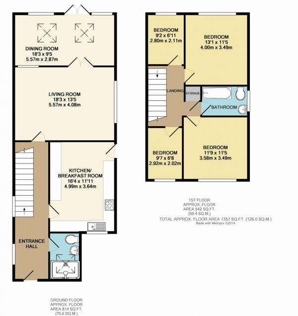Floor Plan Image for 4 Bedroom End of Terrace House for Sale in Grange Close, West Molesey