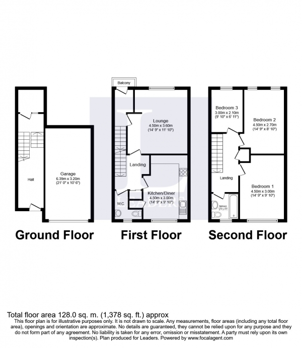 Floor Plan Image for 3 Bedroom Terraced House to Rent in Newhaven Street, Brighton