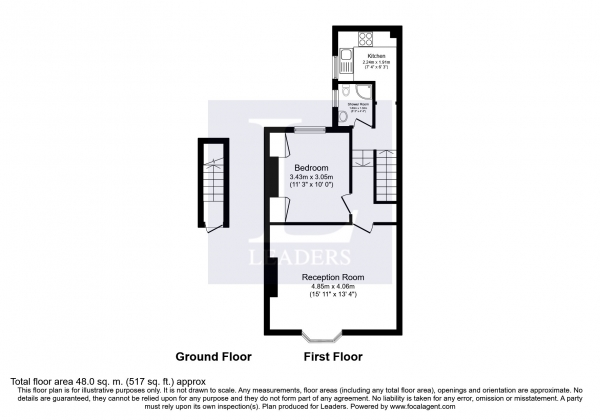 Floor Plan Image for 1 Bedroom Flat to Rent in Rosehill Close, First floor flat, Brighton