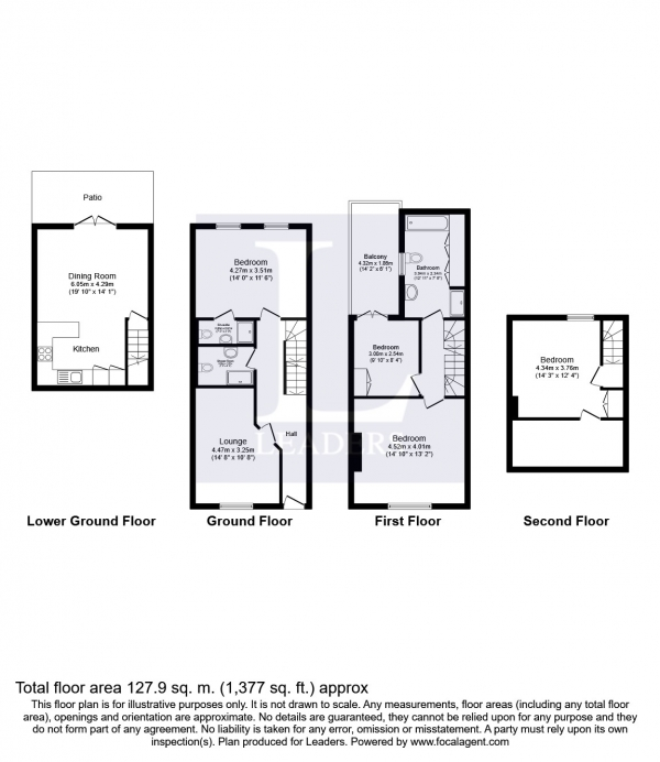 Floor Plan Image for 4 Bedroom Terraced House to Rent in Tidy Street, Brighton