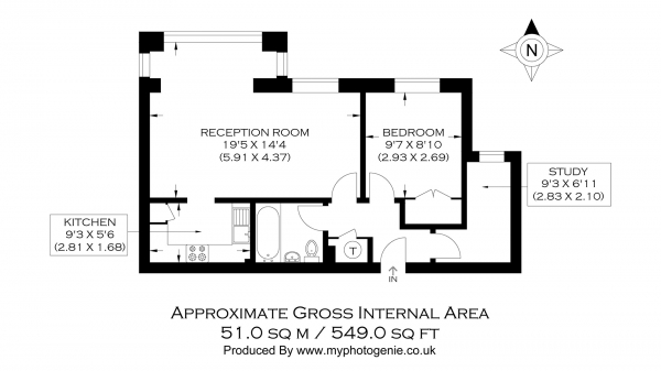 Floor Plan Image for 1 Bedroom Flat for Sale in St. Davids Square, Canary Wharf E14