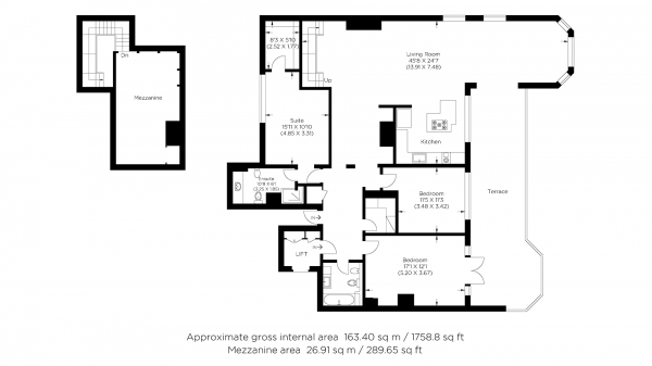 Floor Plan Image for 3 Bedroom Penthouse to Rent in Homer Drive, Canary Wharf E14