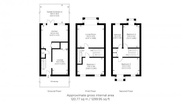 Floor Plan Image for 3 Bedroom End of Terrace House for Sale in Barnfield Place, Canary Wharf E14