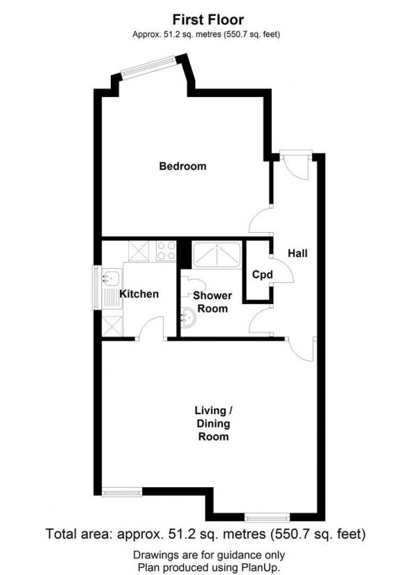 Floor Plan Image for 1 Bedroom Flat to Rent in 14 Malden CloseCambridge