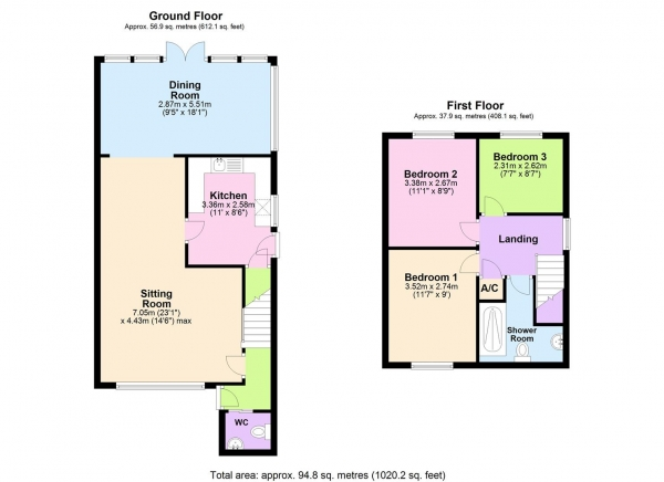 Floor Plan Image for 3 Bedroom Semi-Detached House for Sale in Primrose Close, Purley On Thames, Reading