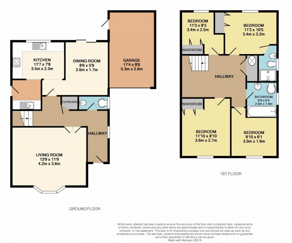 Floor Plan Image for 4 Bedroom Detached House to Rent in Beacon Hill, Bexhill On Sea, TN39