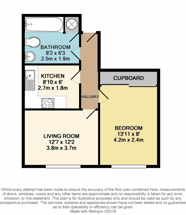 Floor Plan Image for 1 Bedroom Flat for Sale in Wilton Road, Bexhill On Sea, TN40