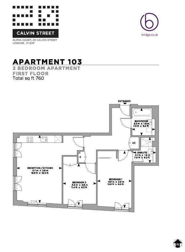 Floor Plan Image for 2 Bedroom Apartment to Rent in Alpha Court, Spitalfields, E1