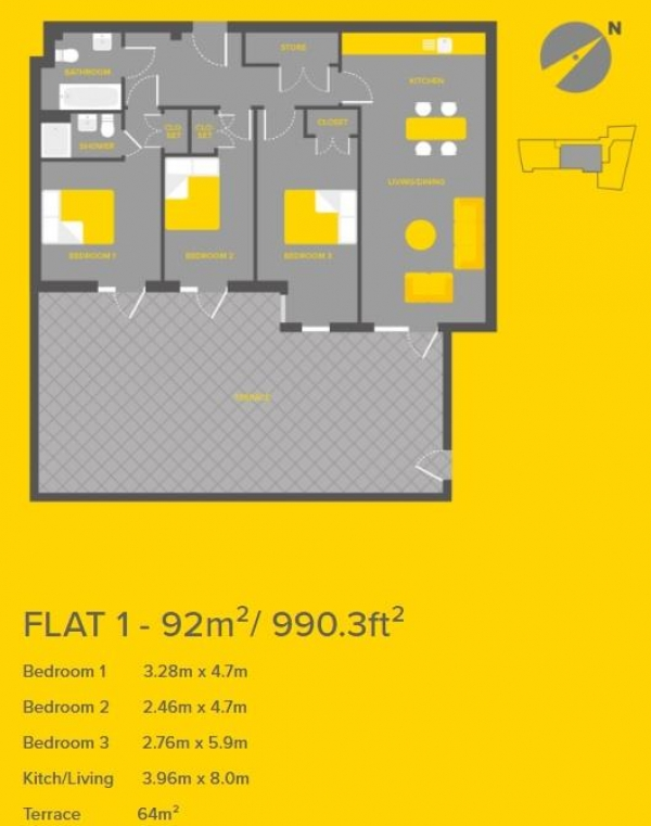 Floor Plan Image for 3 Bedroom Apartment for Sale in 1 The Coachworks, E8