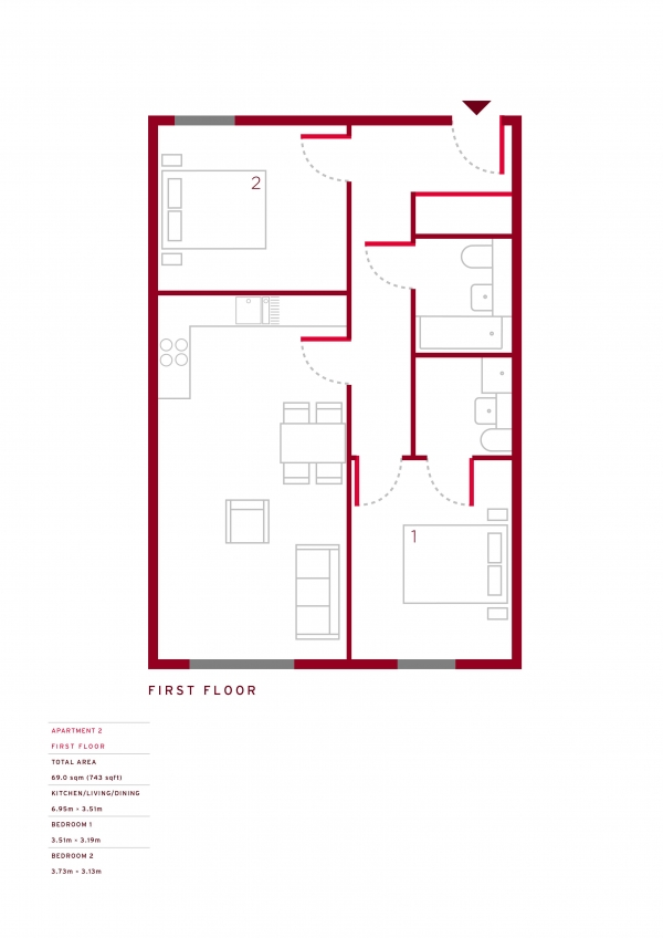 Floor Plan Image for 2 Bedroom Apartment for Sale in Eva Apartments E10