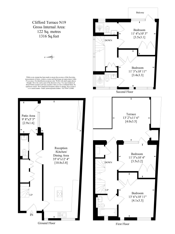 Floor Plan Image for 4 Bedroom Apartment for Sale in 6 Clifford Terrace