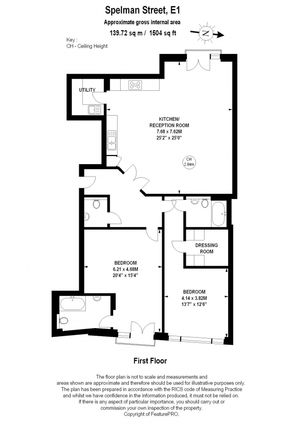 Floor Plan Image for 2 Bedroom Apartment to Rent in Spelman Street, Shoreditch, E1