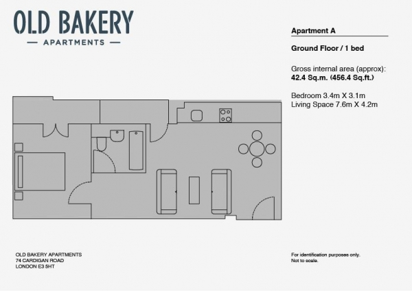Floor Plan Image for 1 Bedroom Apartment to Rent in Old Bakery Apartments, Bow, E3