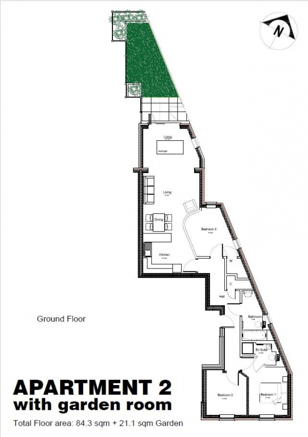 Floor Plan Image for 3 Bedroom Apartment for Sale in 2 Parkgate Apartments, Cadogan Close