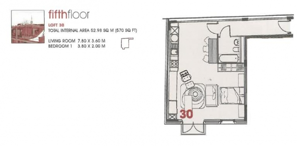 Floor Plan Image for 1 Bedroom Apartment to Rent in Seven New Inn Broadway, Shoreditch EC2
