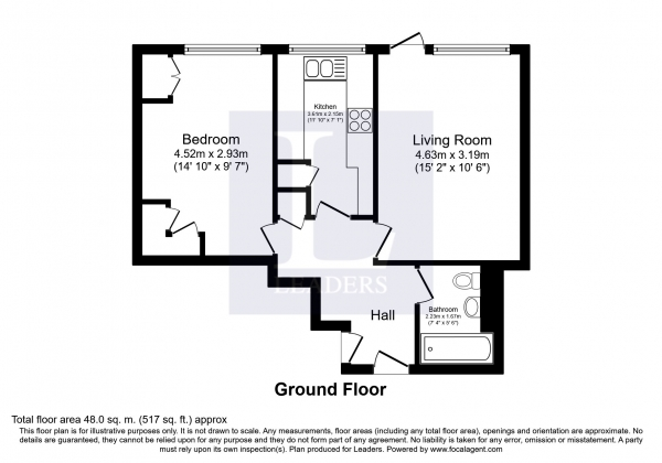 Floor Plan Image for 1 Bedroom Apartment to Rent in Beechcroft, Galsworthy Road, Kingston upon Thames