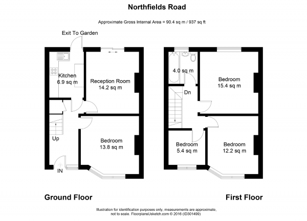 Floor Plan Image for 4 Bedroom Terraced House to Rent in Northfields Road, London