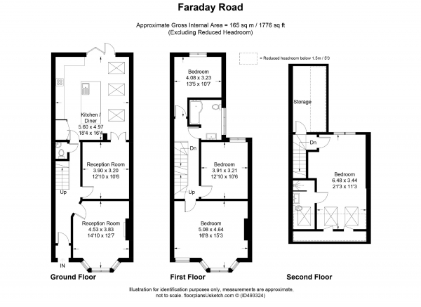Floor Plan Image for 5 Bedroom Terraced House to Rent in Faraday Road, London