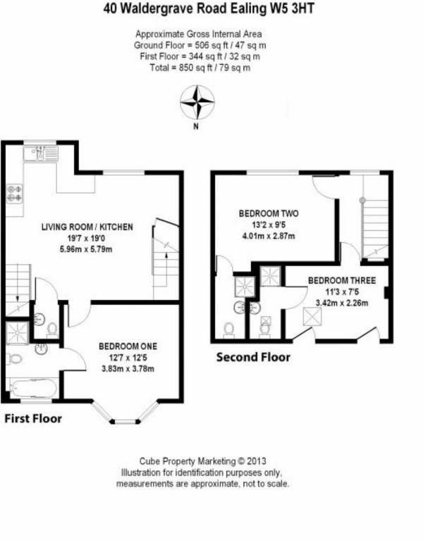 Floor Plan Image for 3 Bedroom Flat for Sale in Waldegrave Road, London