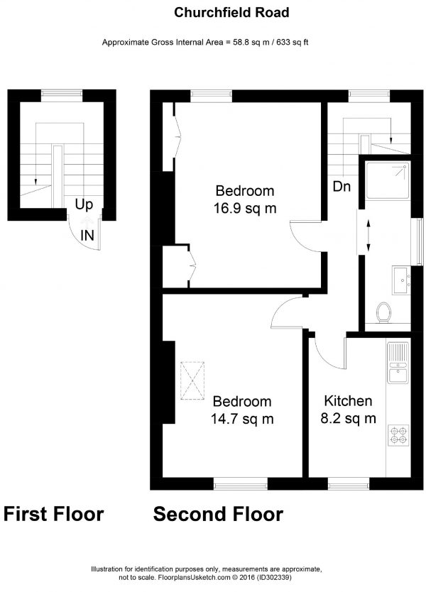 Floor Plan Image for 1 Bedroom Flat to Rent in Churchfield Road, Acton, London