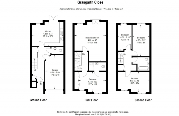 Floor Plan Image for 4 Bedroom Town House to Rent in Grasgarth Close, London