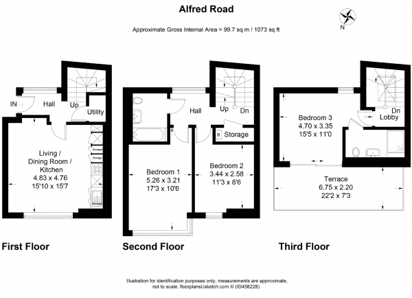 Floor Plan Image for 3 Bedroom Flat to Rent in Alfred Road, London
