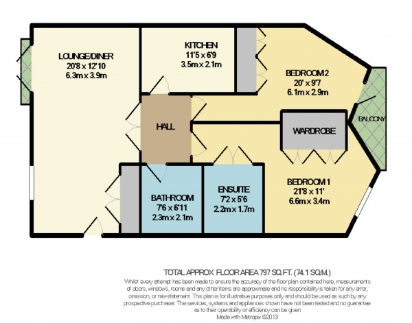 Floor Plan Image for 2 Bedroom Flat to Rent in Hampton House, Bramhall, Cheshire