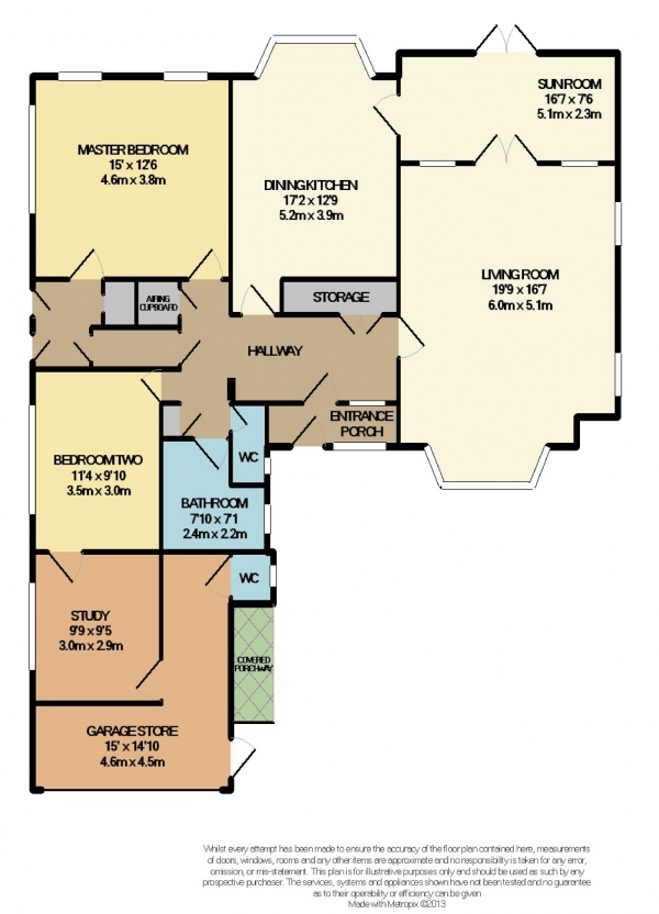 Floor Plan Image for 2 Bedroom Detached Bungalow to Rent in Chester Road, Woodford, Cheshire