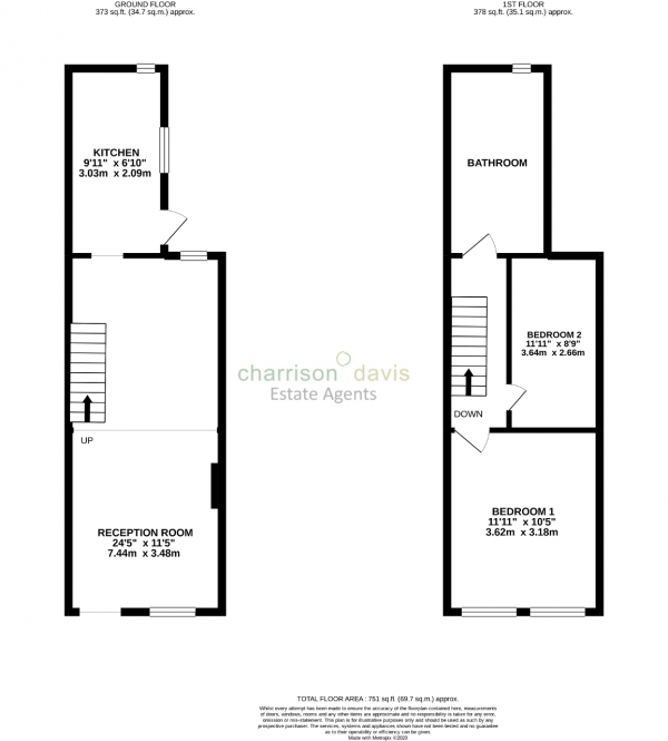 Floor Plan Image for 2 Bedroom Terraced House to Rent in The Green, West Drayton, UB7 7PN