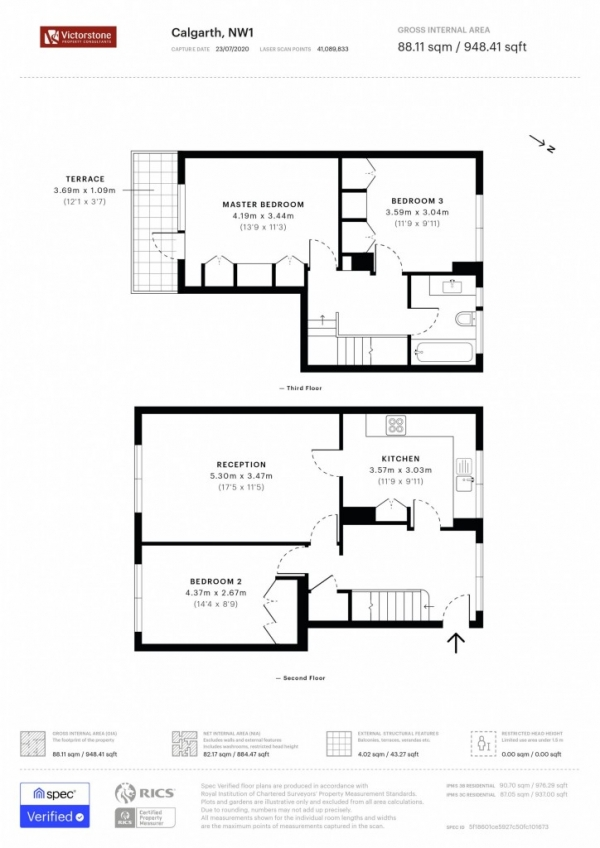 Floor Plan Image for 4 Bedroom Apartment to Rent in Calgarth, Ampthill Square, Camden, NW1
