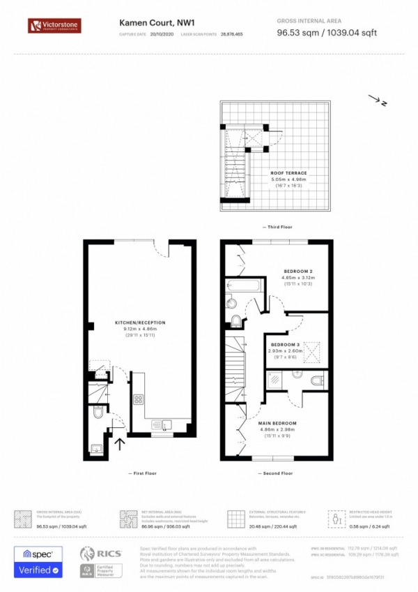 Floor Plan Image for 2 Bedroom Duplex to Rent in Kamen Court, 232 Royal College Street,  Camden, NW1