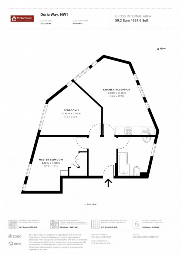 Floor Plan Image for 2 Bedroom Apartment for Sale in Doric Way,  Euston, NW1