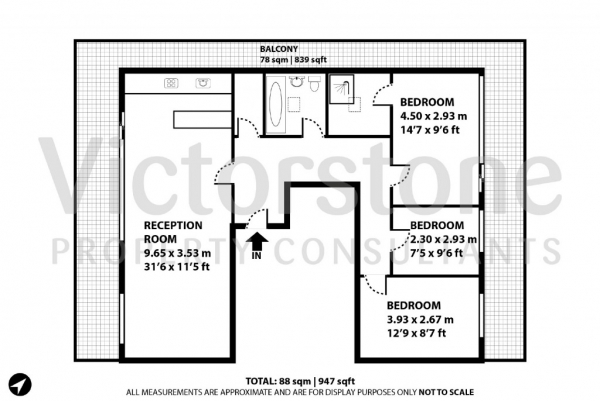 Floor Plan Image for 3 Bedroom Apartment to Rent in The Foundry Dereham Place,  Clerkenwell, EC2A