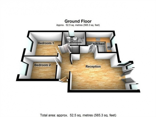 Floor Plan Image for 2 Bedroom Flat for Sale in Burket Close, Southall, Middlesex