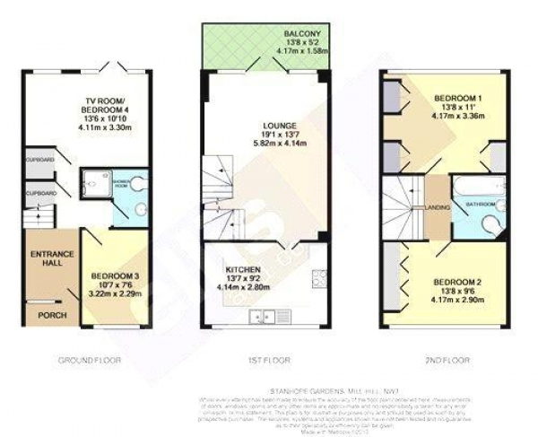 Floor Plan Image for 4 Bedroom Semi-Detached House for Sale in Stanhope Gardens, Mill Hill, London