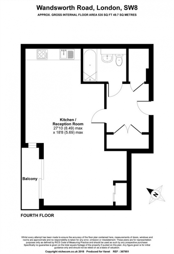 Floor Plan Image for Studio Flat to Rent in This Space, 212 Wandsworth Road, London